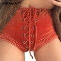 Rojo de Terciopelo Negro Pantalones Cortos de Alto Cordón de La Cintura Ocasional 2017 Nuevo Otoño Invierno Shorts Sexy Flaco Lace Up Mujeres Shorts