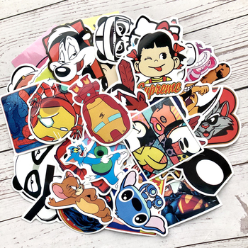 цена на 60pcs Funny Cartoon Stickers on Motorcycle Suitcase Home Decor Phone Laptop Covers DIY Vinyl Decal Sticker Bomb JDM Car styling