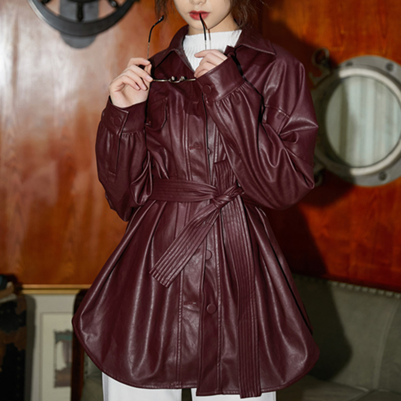LANMREM 2020 Turn-down Collar Wine Red Full Sleeves Single Breasted PU Leather High Waist Leather Jacket Female WH29203S