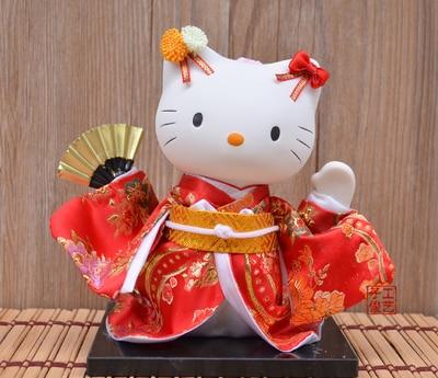 Poupée d'argent mannequin chat kimono chat japonais artisanat marionnette tatami auberge garniture fournitures chat statue décoration de la maison