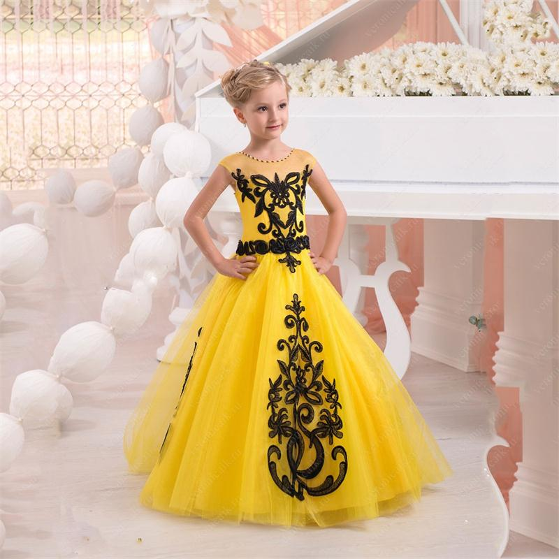 2016 Yellow Ball Gown Flower Girl Dresses with Black Lace Applique ...