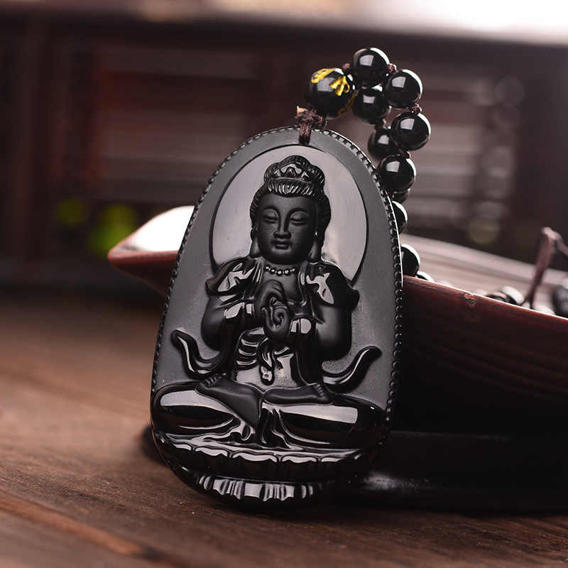 Drop Shipping Black Obsidian Carved Buddha Lucky Amulet Pendant Necklace For Women Men pendants Jewelry Patron Saint Necklace