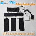 5 Pads de Bateria Aquecida Sistema de Super Fibra De Carbono Quente jaquetas Jaqueta de Inverno Aquecido Peças DIY Sua Segurança acceseries DouWin