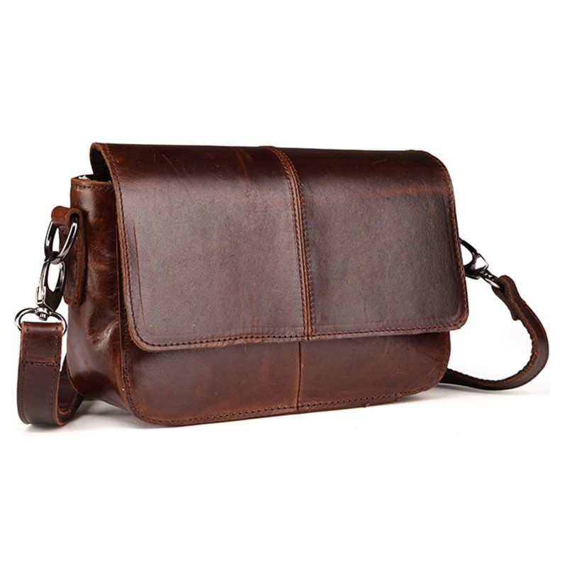 Men High Quality Oil wax Genuine Leather Cowhide Vintage Business Briefcase Travel Casual Crossbody Shoulder Bag New women s oil wax genuine cowhide leather backpack lady girl school bag crossbody shoulder travel bag for woman mr1037