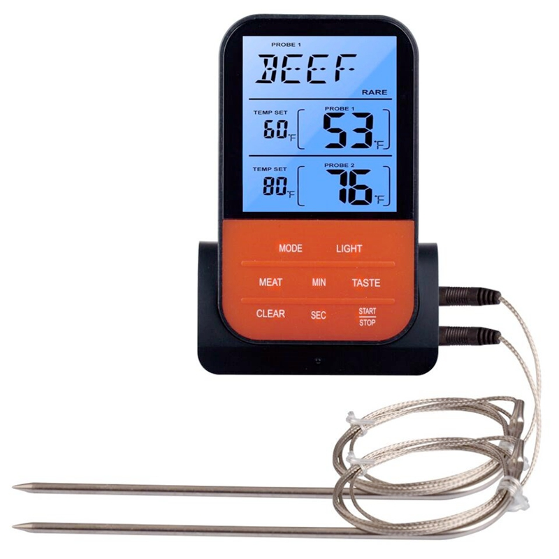 Waterproof Wireless Digital BBQ Thermometer Cooking Meat Food Oven Grilling Smoker Kitchen Probe Temperature Meter Timer Alarm