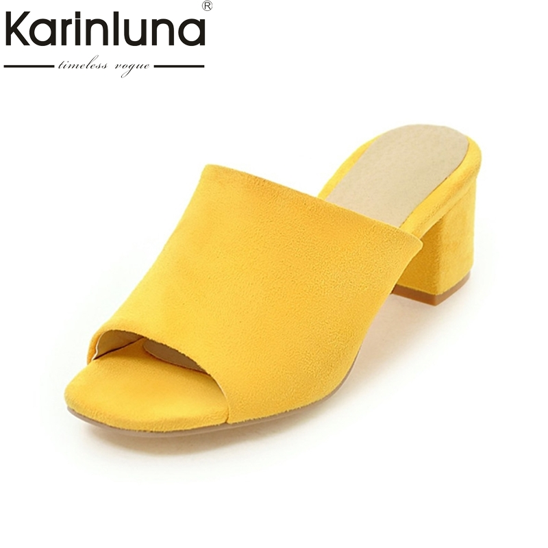 KARINLUNA New Arrivals Fashion Peep Toe Slip On Women Mules Pumps Big Size 33-43 Square Med Heels Platform Party Shoes Woman choupette брюки
