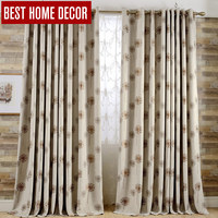 BHD linen modern jacquard blackout curtains for window blinds finished window blackout curtains for living room the bedroom