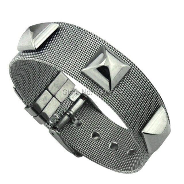 Belt buckle bangle 316L stainless steel nest unisex adjustable three rivet bangle bracelets brand design b5