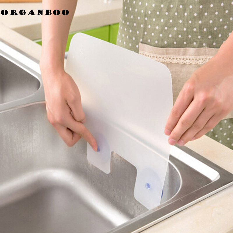 1pcs New Creative Kitchen Washing Dish Baffle Sink Board Wash Basin Sucker Plastic Water Splash Guards Gadgets