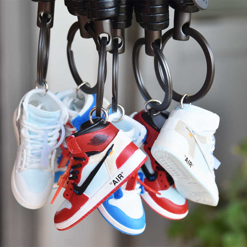 c94ab9cdbf ... OFF-WHITE personality creative pendant keychain 3d stereo basketball  shoe model car key chain couple