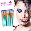 Profesional 10 Unids Cara sistema de Cepillo Del Maquillaje con el Bolso de Maquillaje Pinceles Herramientas Kits de Cuero