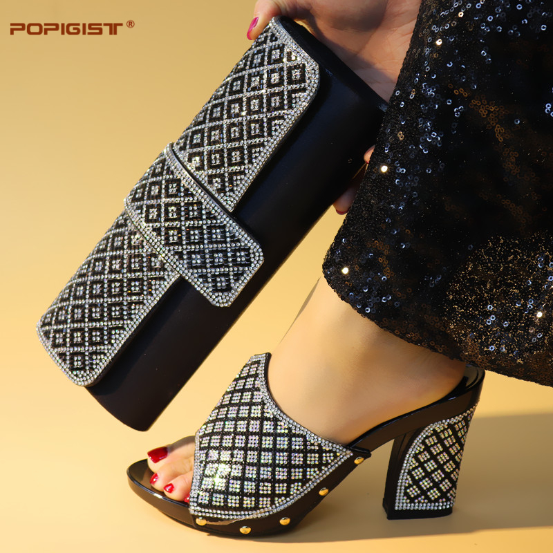 052e4c4d0aed Black Color African Shoes and bag matching set Shoes and Bag matching set  Italian Shoes and