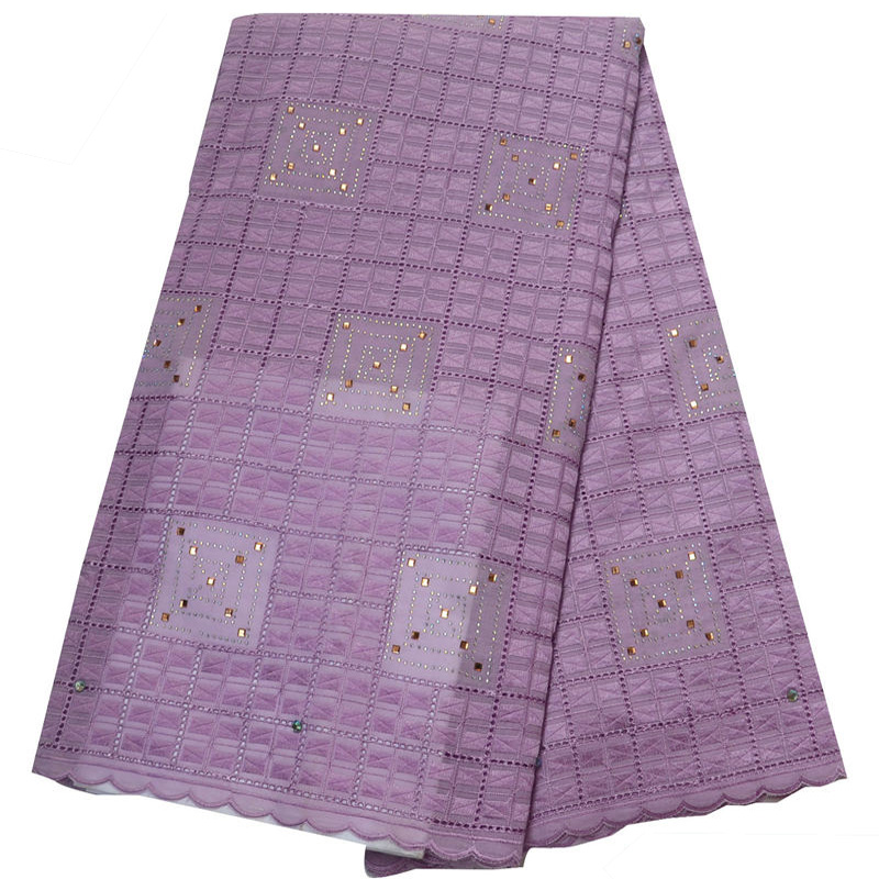(5yards/pc) high quality lilac purple African Swiss voile lace fabric with elegant embroidery and stones for party dress CLP108