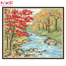 NKF diamond embroidery landscape rhinestones 100% Full 5D Diy Daimond Painting Autumn view Round Rhinestones Scenery