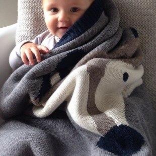 Зима couette enfant детские одеяло симпатичные фокс кролик хлопок новорожденного фотографии реквизита одеяло вязание муслин пеленать wikkeldeken