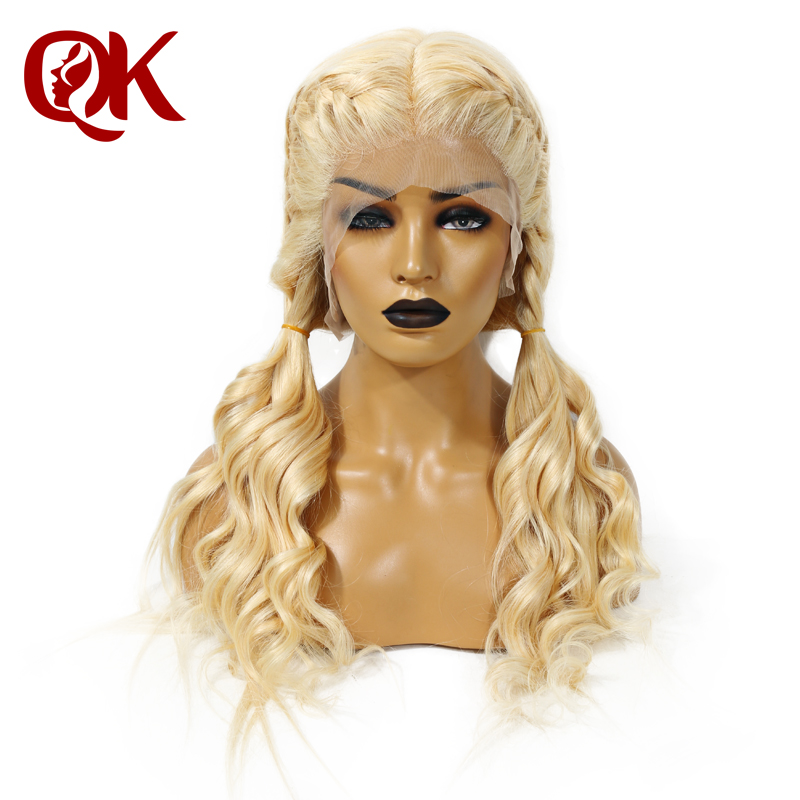 QueenKing hair 180 Density European Human Remy Hair Front Lace Wigs Blonde 613 Silky straight Wig