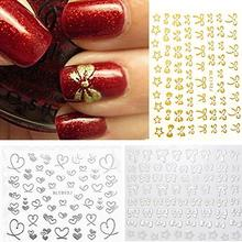 3D Bowknot Heart Nail Art Tips Decor Studs Sticker self Adhesive DIY Decoration Manicure Decals