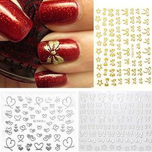 Image 1 - 3d bowknot coração unha arte dicas decoração studs adesivo auto adesivo diy decoração manicure decalques