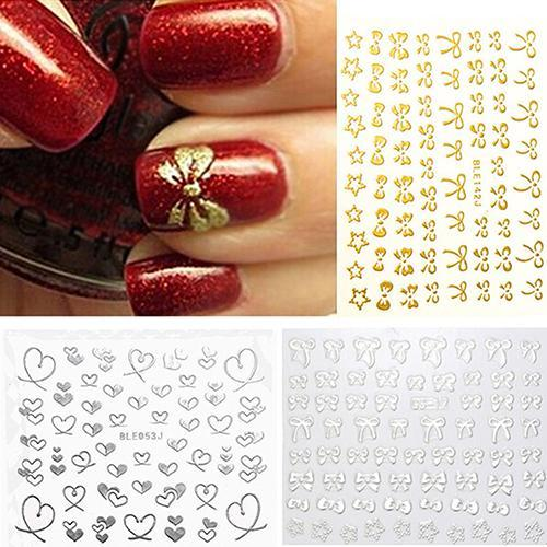 3d bowknot coração unha arte dicas decoração studs adesivo auto adesivo diy decoração manicure decalques