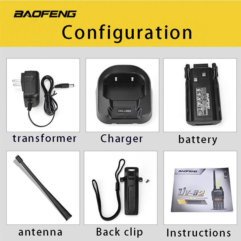 Image 5 - (2 PCS)BaoFeng UV 82 Dual Band 136 174/400 520 MHz FM Ham Two Way Radio, Transceiver, Walkie Talkie-in Walkie Talkie from Cellphones & Telecommunications