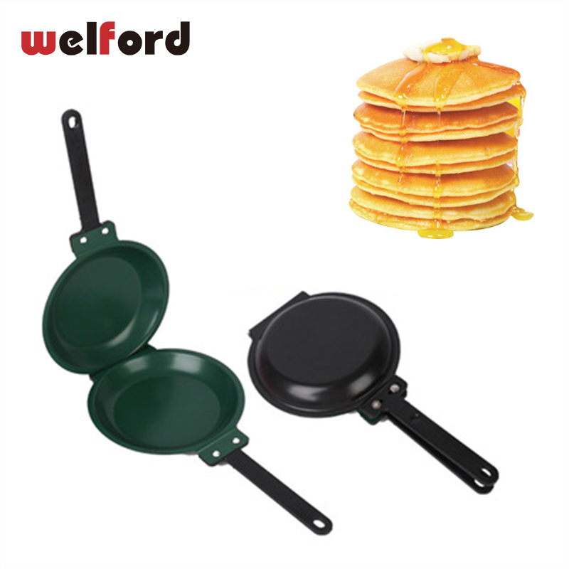 Home Double Sided Frying Pan Non Stick Folding Omelette Pan Pancake Cook Eggs Breakfast Mold Steel 2 Sides Hand Frying Pan Pot Сковорода