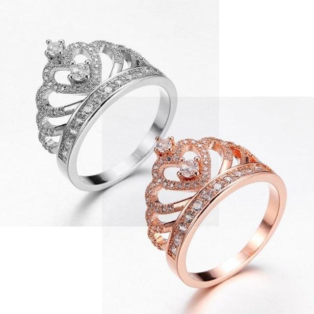 Crown Ring Aaaaa Zircon Cz Filled Engagement Wedding Band For Women Men Rose Gold