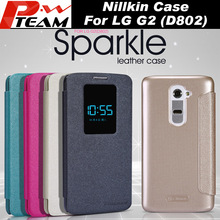 Original NILLKIN Sparkle New leather Case For LG G2 D802 phone Luxury View Window Leather PU