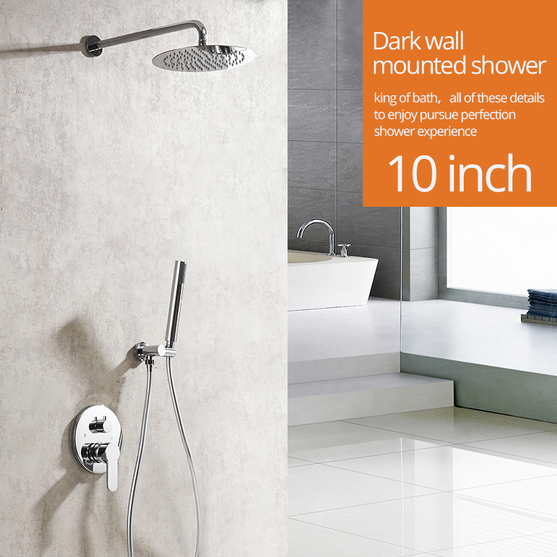 Shower Faucets Chrome Silver Wall Mount Bathroom Faucet Set Rainfall Square Big Shower Head Handheld Valve