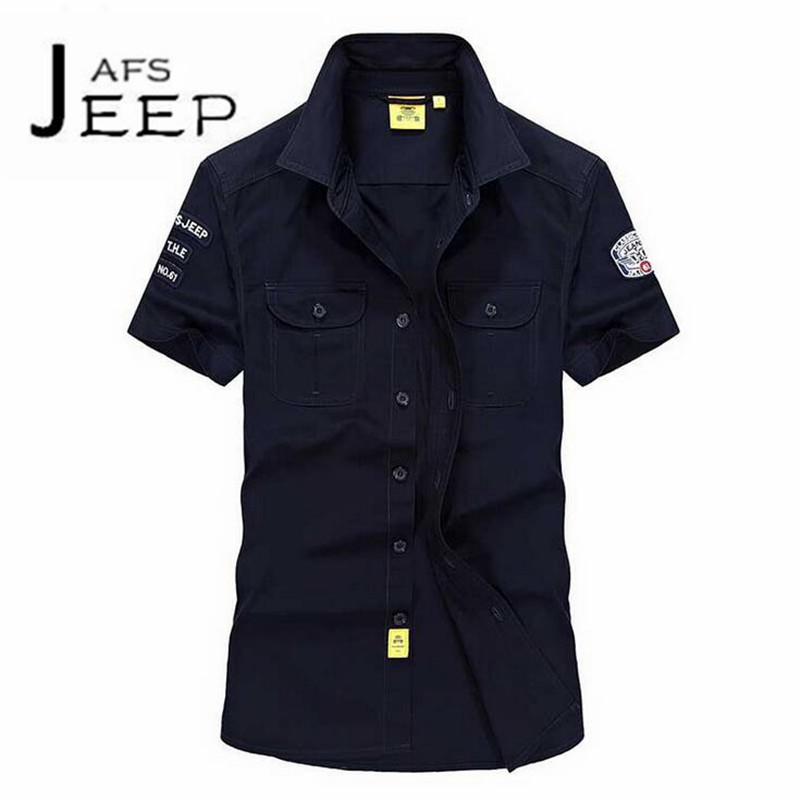 JI PU Short Sleeve Military Slim Cotton Shirt,Pilot Style Single Breast Males Water Washed Double pocket chest worker shirts