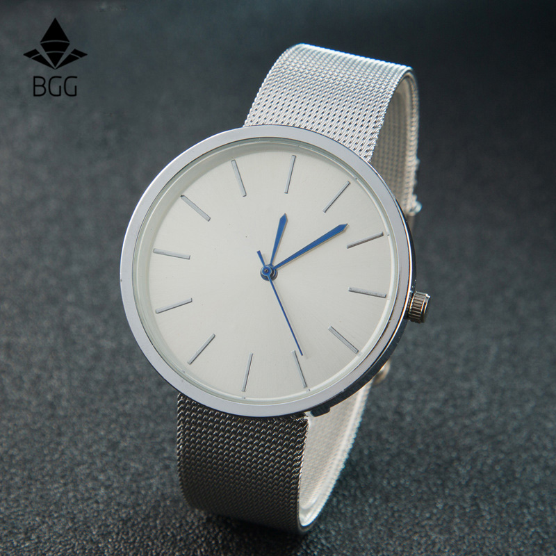 BGG brand Stainless  Mesh Ladies Quartz Watch Female Quartz Wristwatch mesh Strap Women Fashion Casual Wristwatch Relogio Mujer bgg brand creative two turntables dial women men watch stainless mesh boy girl casual quartz watch students watch relogio