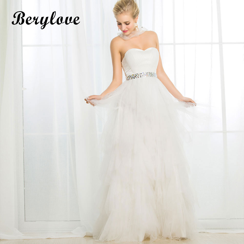 BeryLove A Line White Wedding Dresses 2018 Long Beaded Tulle Wedding Gowns China Women Styles Wedding Gowns For Party Dress