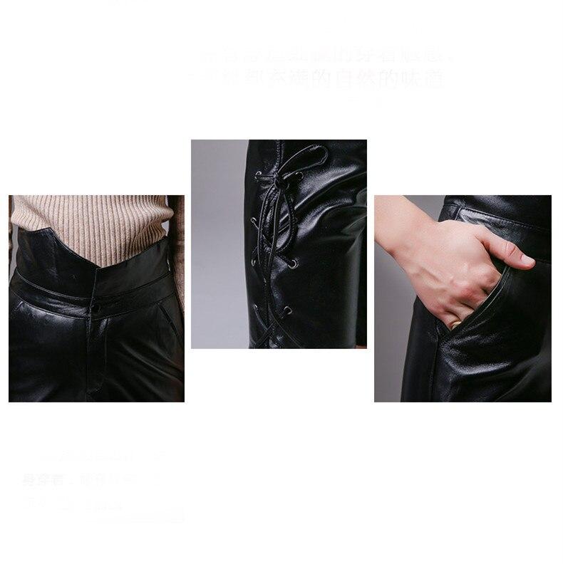 Plus size nuove donne di modo di alta qualità della vita Dell'impero ufficio formale OL Della Chiusura Lampo nero era sottile pantaloni di cuoio genuino XXXL - 2