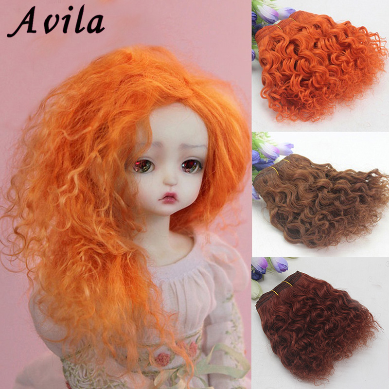 AAAA High Quality BJD Hair Curly 18CM*100CM BJD WIG For Dolls Wool Roll Wig Can Dyeable and Hot Free shipping image