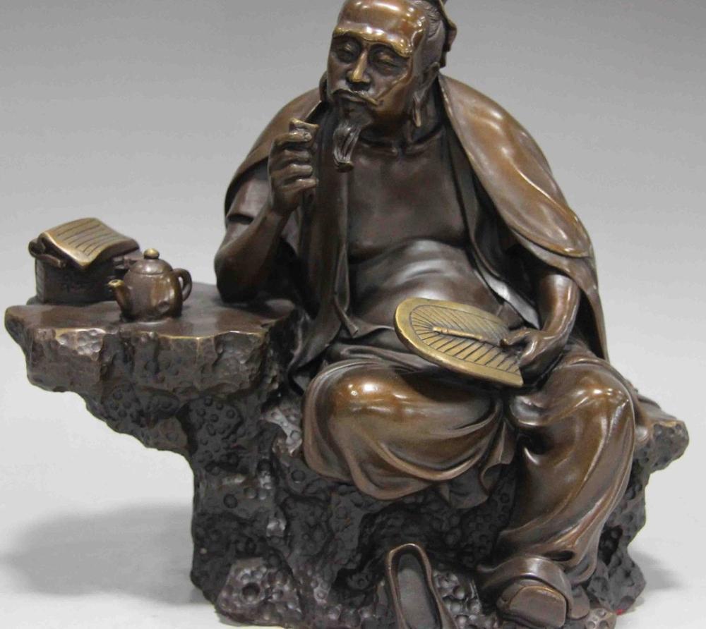 Ev ve Bahçe'ten Statü ve Heykelleri'de Çin Halk Kültürü Handmade dikkatli Saf Bronz heykeli Çay St Lu Yu Heykeli title=