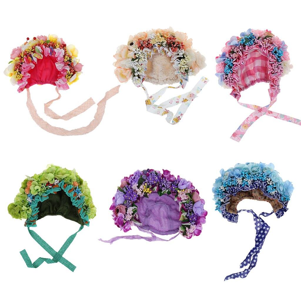 Bebê recém-nascido Fotografia Props Hat Flores Florais Coloridos Bonnet Acessórios Tiro Estúdio de Fotografia Foto Props