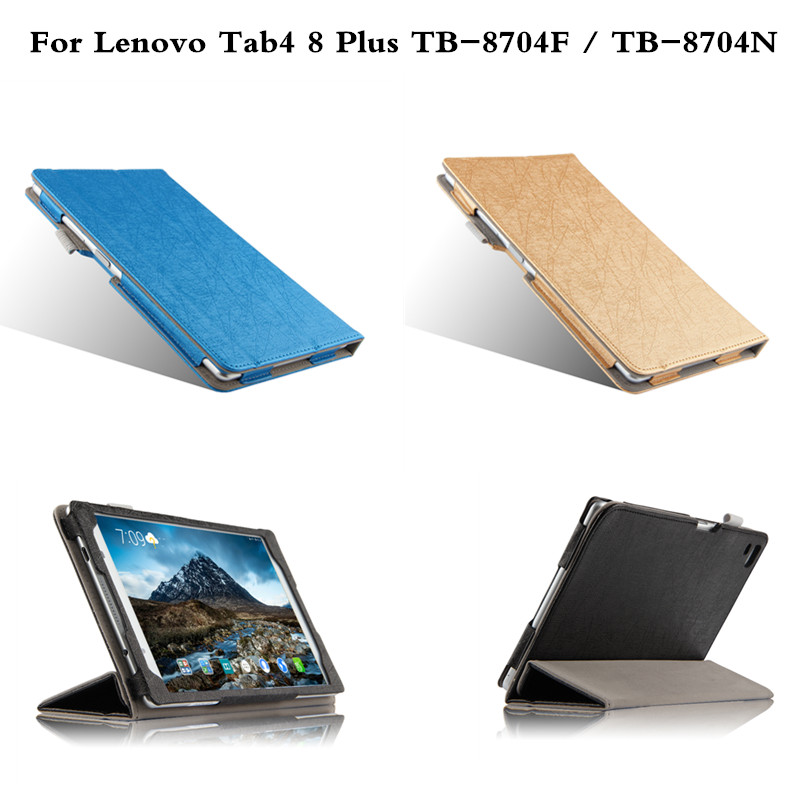 Luxury Flip Cover Slim protective skin PU Leather case For Lenovo Tab4 8 Plus 8.0 inch Tablet TB-8704F TB-8704N 2017 Release ultra thin smart flip pu leather cover for lenovo tab 2 a10 30 70f x30f x30m 10 1 tablet case screen protector stylus pen