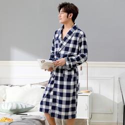 Халат для мужчин ночная рубашка осень длинные удобные с длинным рукавом летние тонкие дышащие пижамы Летний домашний сервис