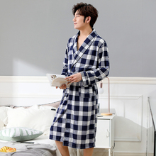 Bathrobe Mens Nightgown Autumn Long Comfortable Sleeve Summer Thin Breathable Pajamas Home Service