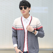 Autumn Fashion Men's Cardigan Sweaters Patchwork Knitted Jacket Spell Color Long Sleeve V-Neck Cardigans