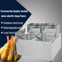 Free DHL 1PC Stainless Steel Commercial Electric Deep Fryer Frying Machine High Power Deep Fryers Fast