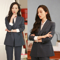 High Quality 2019 Spring and Autumn New Korean Fashion Slim Thin Casual Suit Set Women Retro Plaid Small Blazer