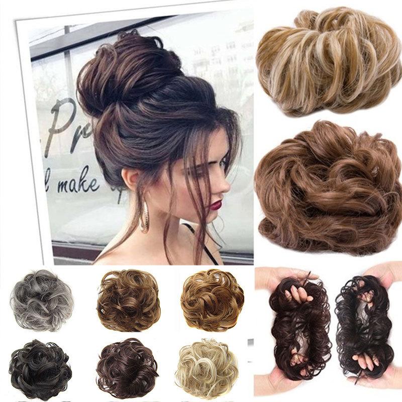 Curly Fake Hair Ponytail Hair Extensions Short Hair Messy Donut Hair Drawstring Ponytail For Woman Styling Tool