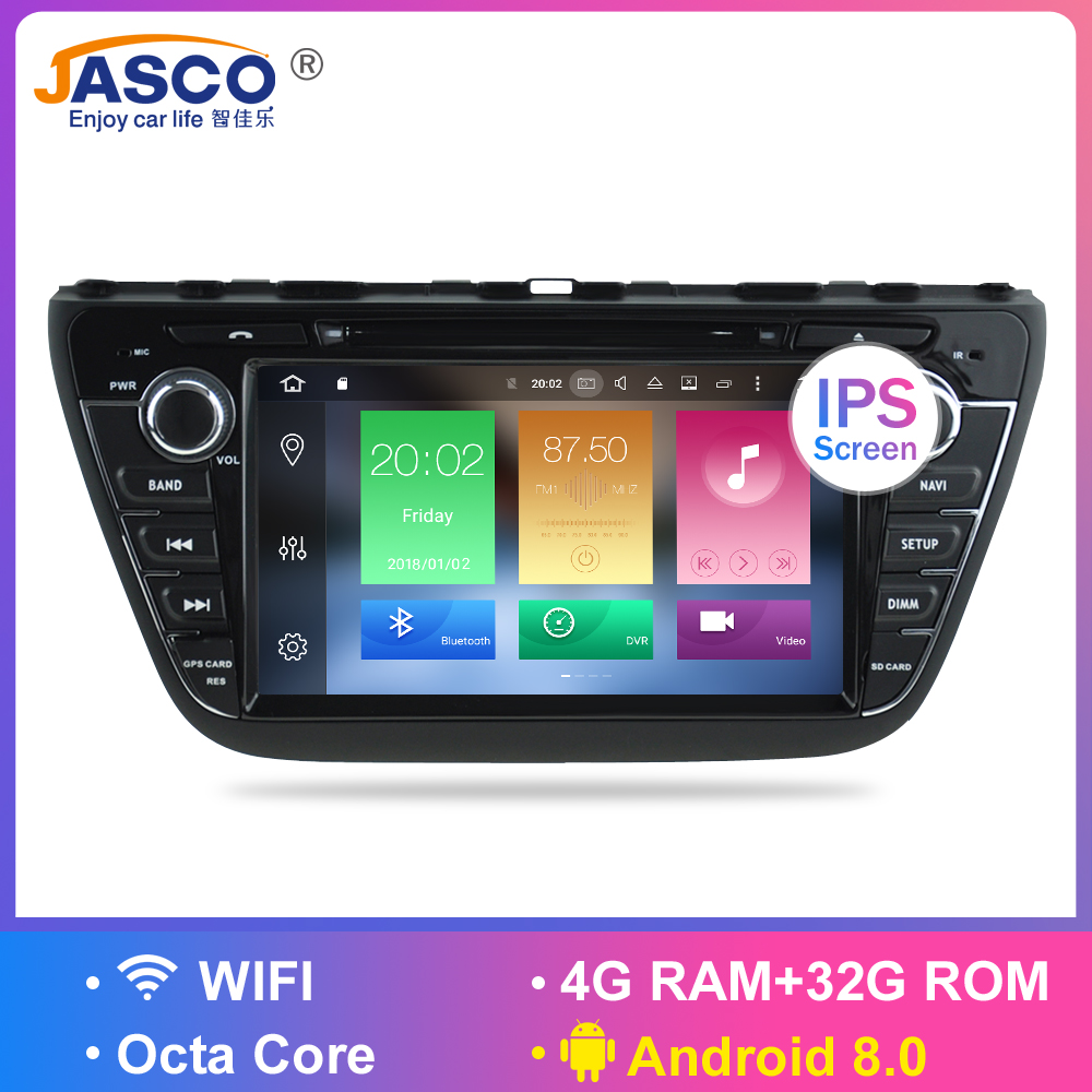 4G RAM Android 8.0 Car DVD Stereo For Suzuki SX4 S-Cross 2014 2015 2016 GPS Navigation Video Audio