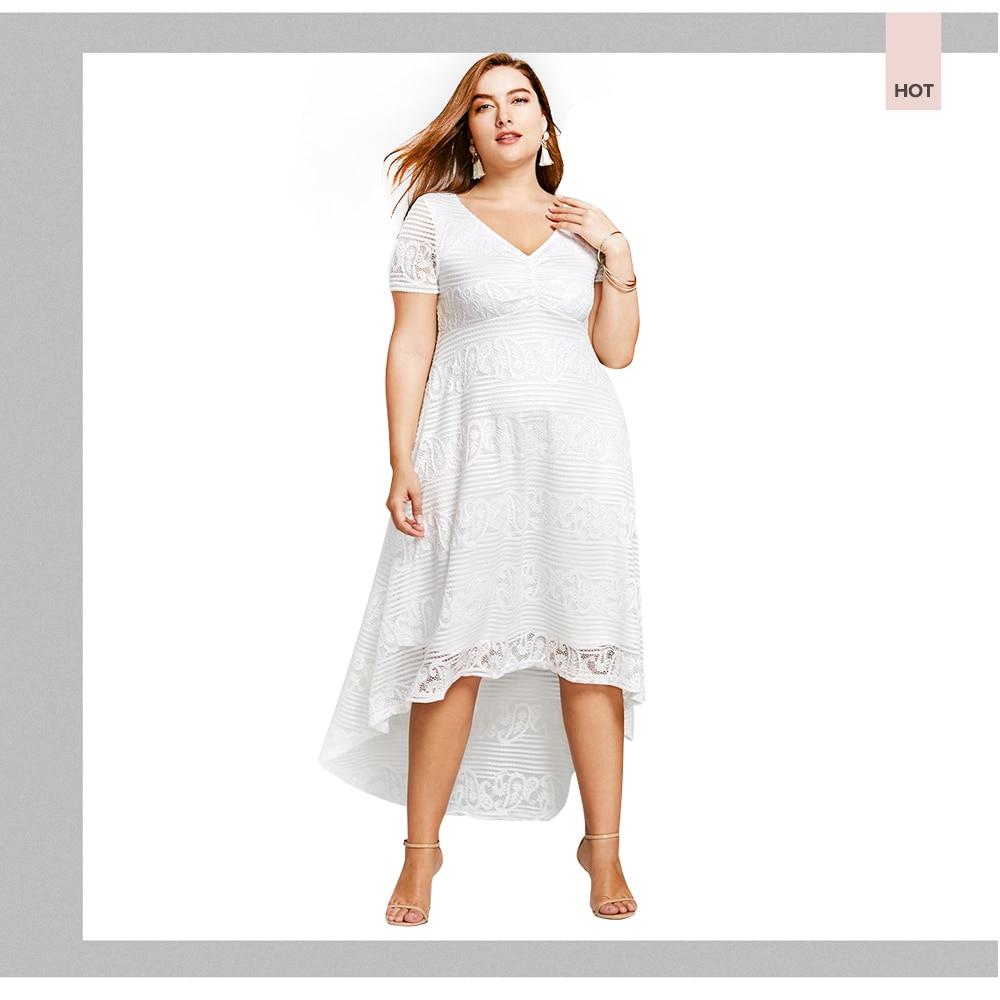 aa2c0d704f17 ... Plus Size XL 5XL Summer Midi Dress Women Short Sleeves White Color V-Neck  Semi