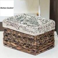 Nordic style Rattan Storage basket Straw Desktop storage box Dirty clothes Cosmetics jewelry storage basket Snack storage bag