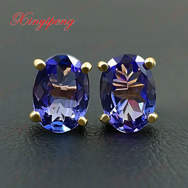 18 K Yellow Gold With Natural Tanzanite Earrings Blue And Purple Of Fire Fine