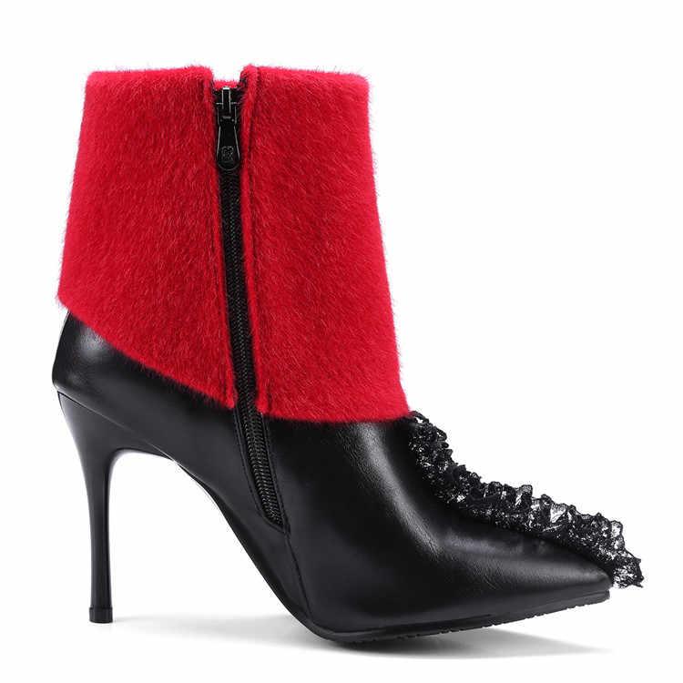 MLJUESE 2018 kadın yarım çizmeler fermuarlar üzerinde kayma karışık renkler kış kısa peluş bayan botları boyutu 34-43