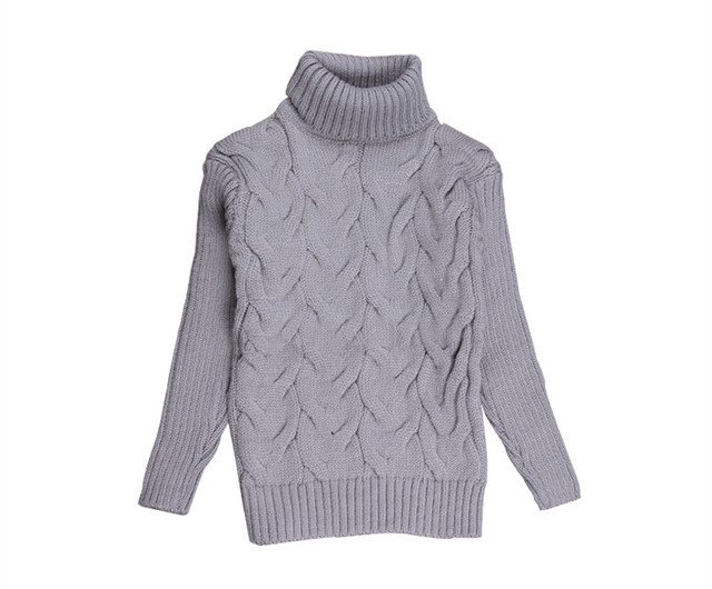 2016 New Solid 2-10Y Turtleneck Knit Sweater Child Warm Autumn Winter Full Sleeve Pullover Sweater For Boys/Girls KC-1547-6