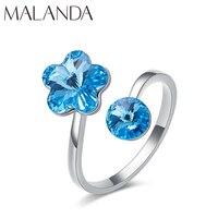 Malanda новые модные открытые кольца с кристаллами из кольца swarovski для женщин женские элегантные свадебные кольца для вечеринок ювелирные изде...