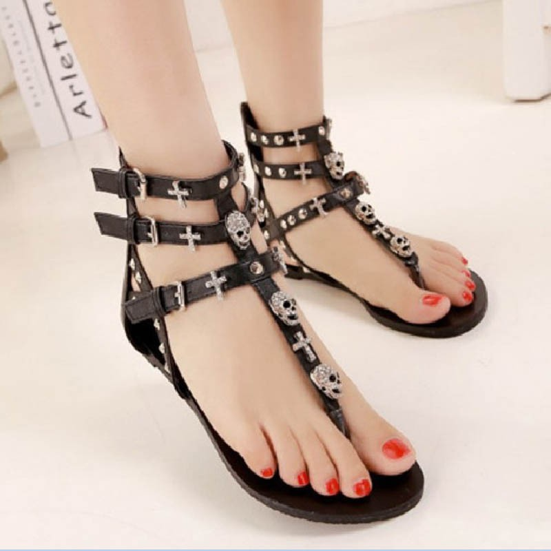 Metail Skull Fashion Sandals For Women Summer Shoes Roman Style Gladiator Sandals Shoes Woman Flip Flop Flats Female Beach Shoes women sandals 2016 fashion woman summer shoes sandals female beach wedges shoes high heel shoes sandals